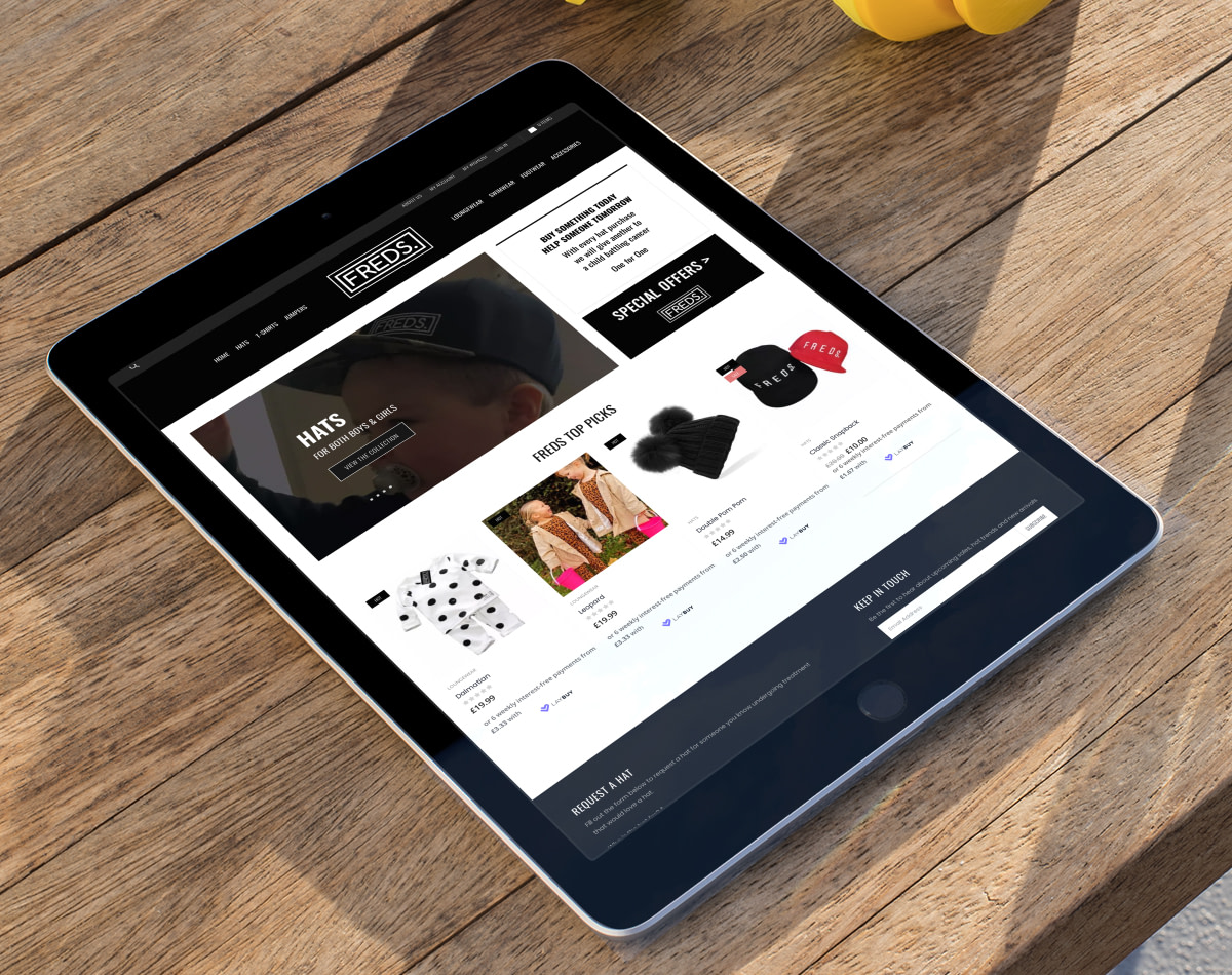freds clothing ecommerce pay monthly website