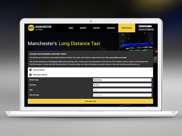 Manchester Taxi Service Pay Monthly Website Design