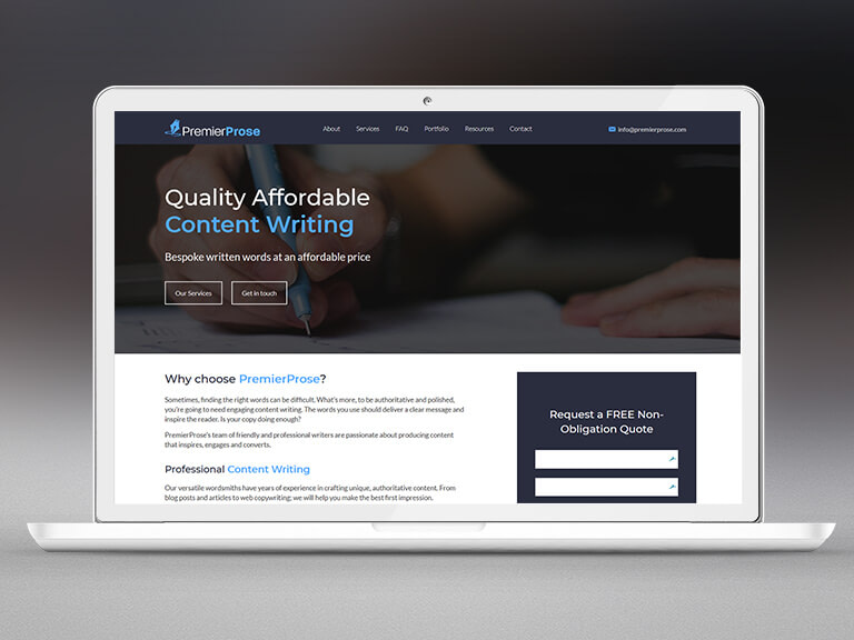 Premier Prose Pay Monthly Website Design