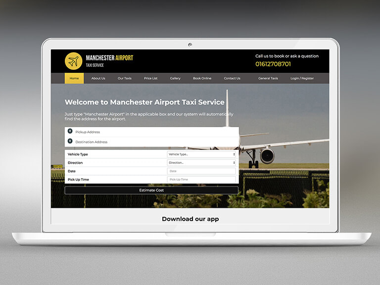 Manchester Airport Taxi Service Pay Monthly Website Design