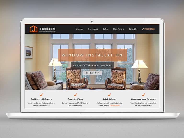 JB Installations Pay Monthly Website Design